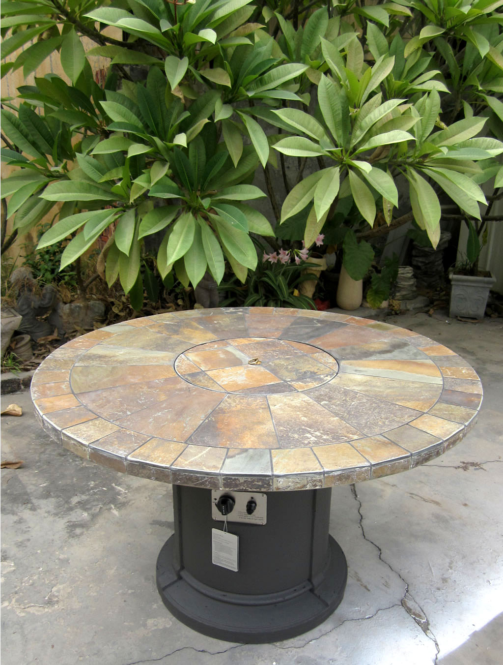 new 2016 outdoor natural slate fire pit outdoor dining table propane firepit ebay. Black Bedroom Furniture Sets. Home Design Ideas