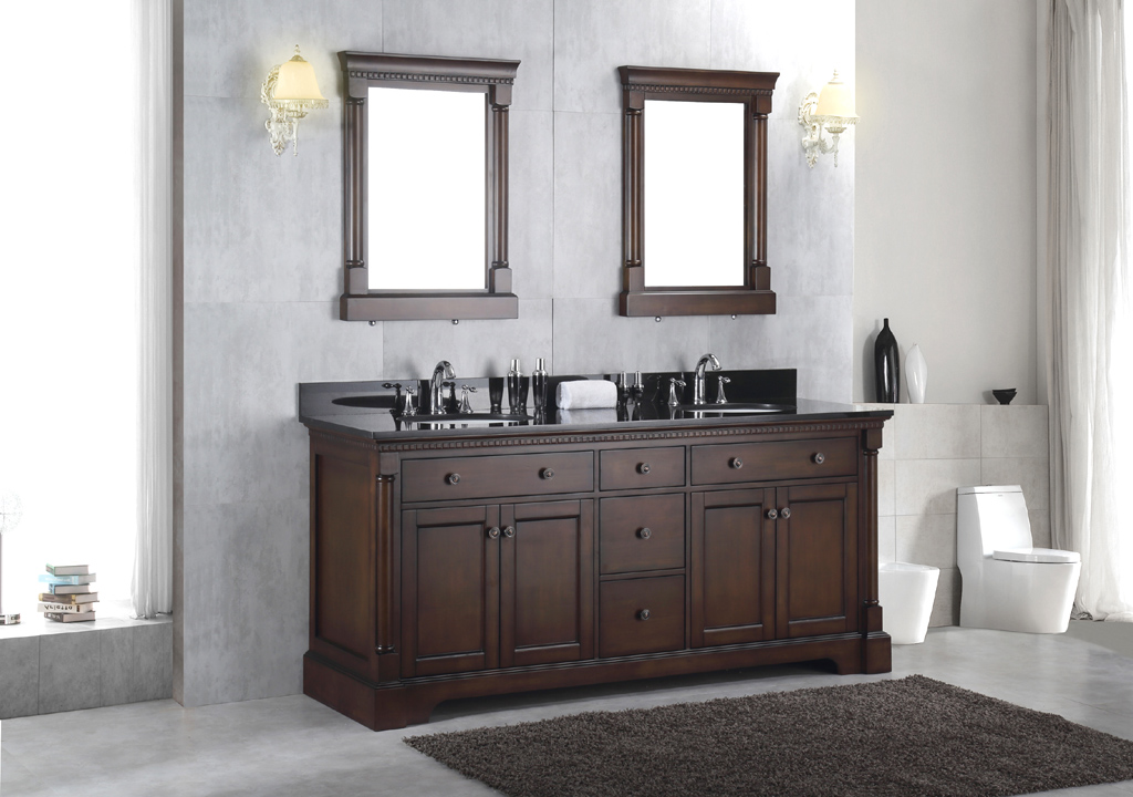 New 72 Solid Wood Double Bathroom Vanity Sink Cabinet W Black Granite Top Ebay