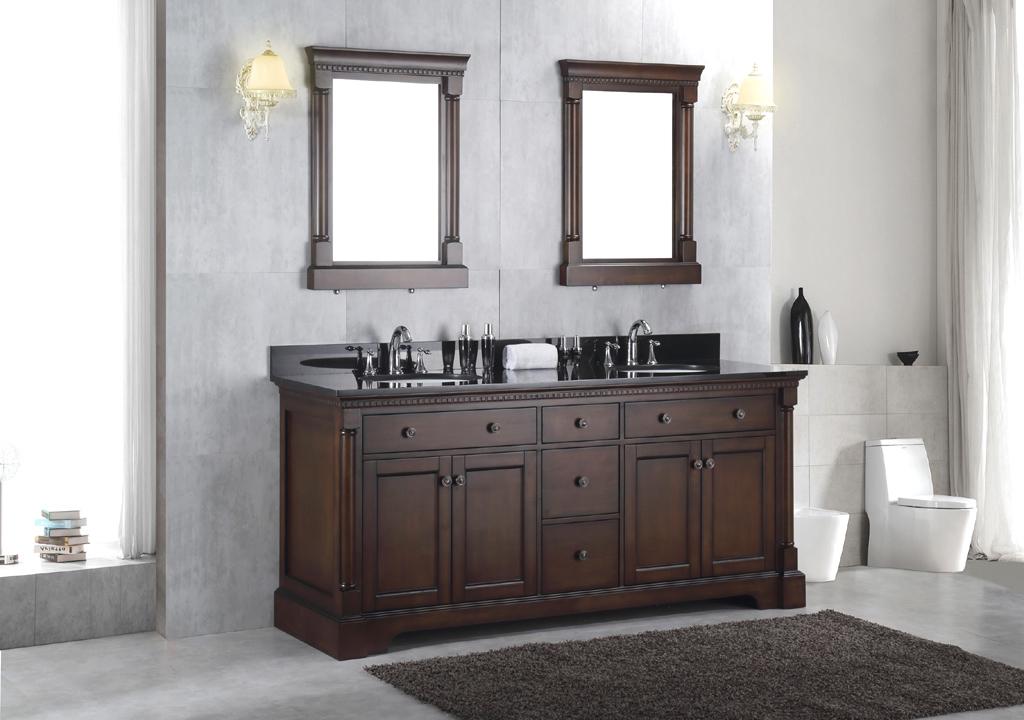 New 72 solid wood double bathroom vanity sink cabinet w - Bathroom vanity black marble top ...